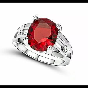 New red Ruby silver Ring Size 8